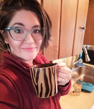 Colorado Mom telling you why you need coffee in a cabin.